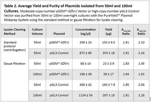 Average Yield and Purity of Plasmids Isolated from 50ml and 100ml Cultures.